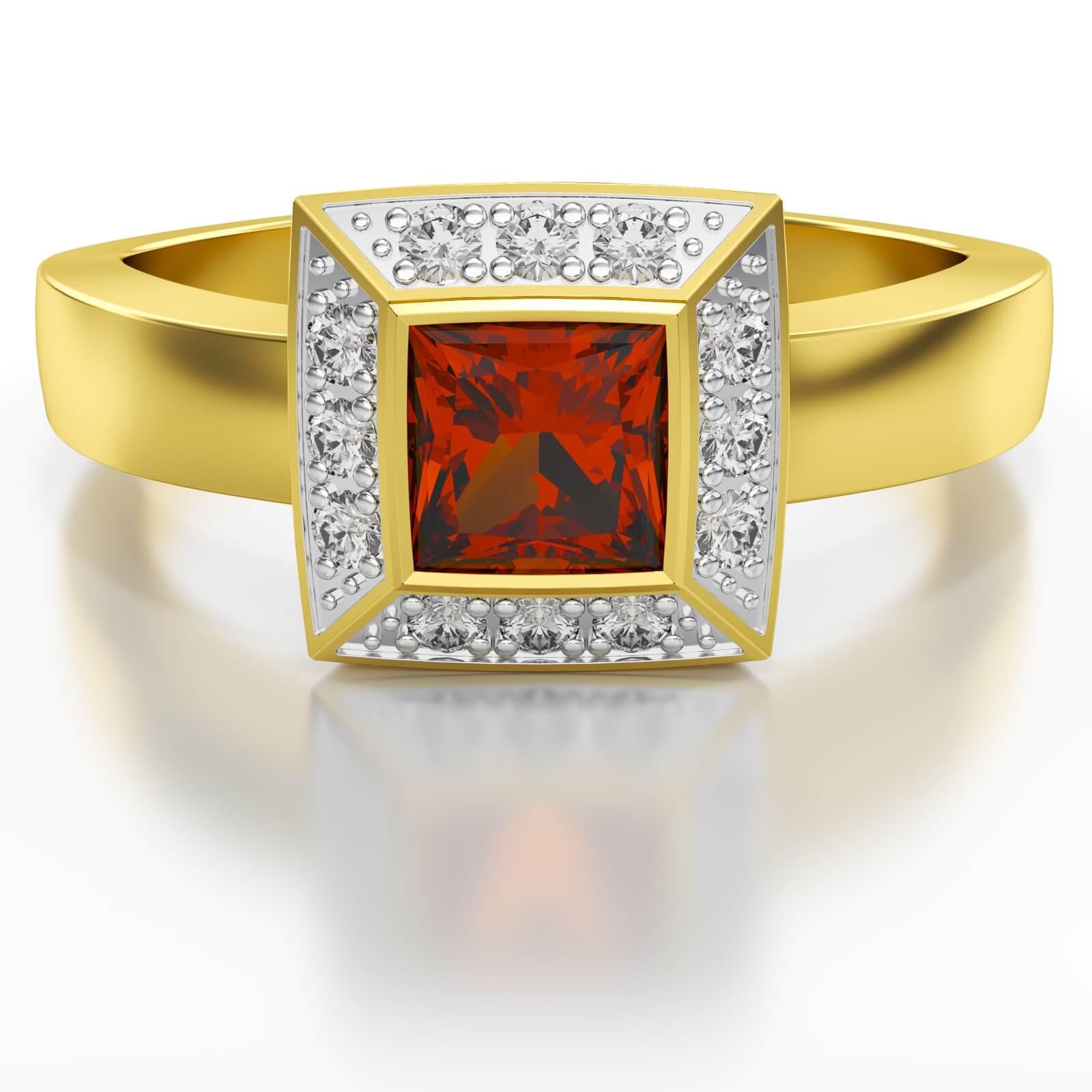 Pierścionek z brylantem wielokamieniowy rubin ST17