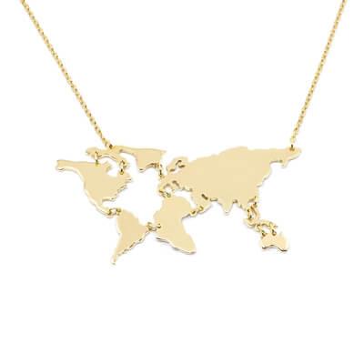 Naszyjnik mapa świata