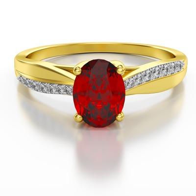 Pierścionek z brylantem wielokamieniowy rubin ST16